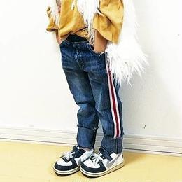 再入荷★kids兼用ok☻シンプルデザインサイドライン入りデニム【ウエストゴム】