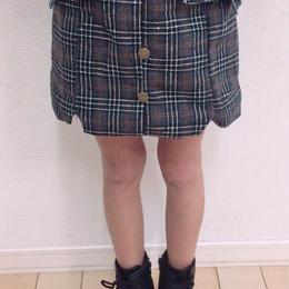 kids☻フロントボタングレンチェック柄コーデュロイ裏起毛スカート【グレー】