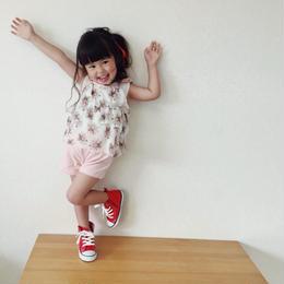 ☺︎kids【2点セット】花柄2段フリルキャミ+ショートパンツ【ピンク】