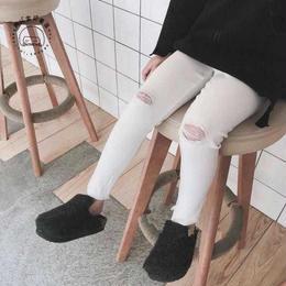 ☺︎kids兼用ok☻お膝クラッシュ加工シンプルレギパン【ホワイト】
