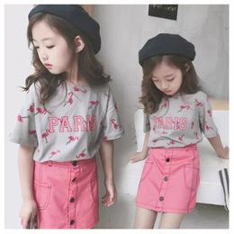 【予約終了】フラミンゴ柄 PARIS Tシャツ(100-150cm)