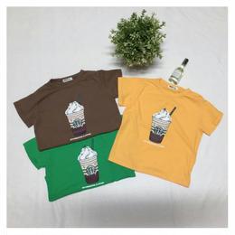 【在庫あり】スタバ風 Tシャツ(ブラウン/130cm)