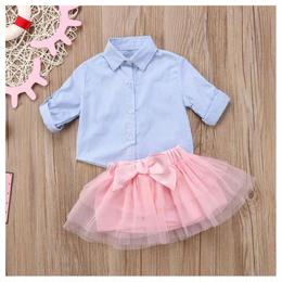 【予約終了】シャツ+スカート 2Pセット(80-120cm)