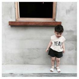 【予約終了】YEAH!! 袖切りっぱなし Tシャツ(80-130cm)