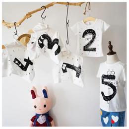 【予約終了】手描き風 ナンバー Tシャツ(80-120cm)