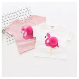 【再/予約終了】ポンポン付き フラミンゴ Tシャツ(80-120cm)
