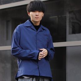 LIDnM×RYO ドライウールタッチオープンカラーシャツ【ブルー】L-90