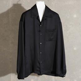 ダブルサテンオープンカラーシャツ【ブラック】 L-28