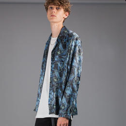 ノイズパターンオープンカラーシャツ【ブラック】 L-44