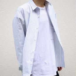 ストライプオーバーシャツ【ホワイト】 L-71