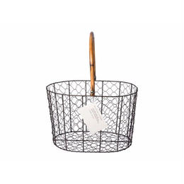 RATTAN HANDLE WIRE BASKET〈L〉