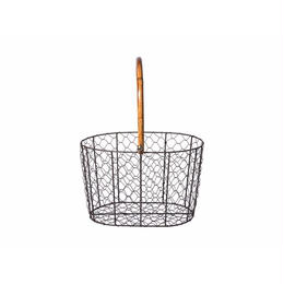 RATTAN HANDLE WIRE BASKET〈S〉