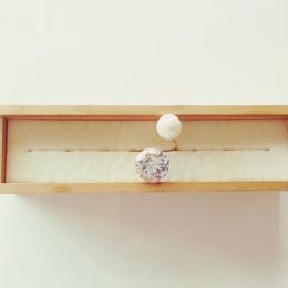 Zirconia grain faux Pearl ring ▪︎18mm▪︎