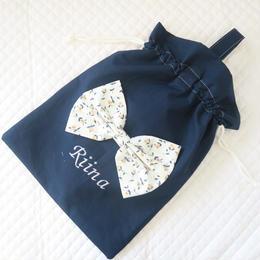 ビッグリボンの巾着袋(ネイビー)