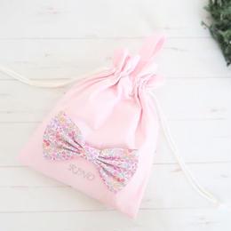 ビッグリボンの巾着袋(ピンク)