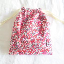 花総柄リバティのフリル巾着袋