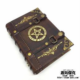 【手作り】魔導書風 手帳 革製 ページ式ポーチ付き