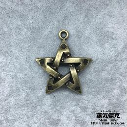 【6点セット】五芒星風ペンダント素材 39.6mm x 35.2mm 金属製ハンドメイド素材 商品番号S-0014