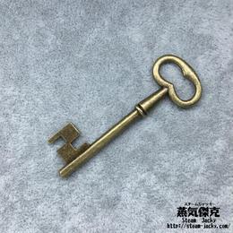 【5点セット】鍵風ペンダント素材 57.2mm x 21mm 金属製パーツ ブラスカラー 商品番号K-0050