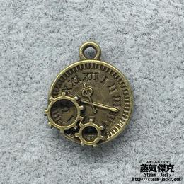 【4点セット】歯車付き時計風素材 金属製パーツ 商品番号T-0034