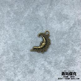 【10点セット】人面月ペンダント素材 26.8mm x 15.4mm 金属製ハンドメイド素材 商品番号S-0026
