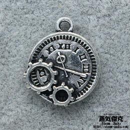 【4点セット】歯車付き時計風素材 金属製パーツ 商品番号T-0035