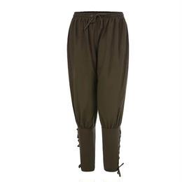 【グリーン】欧風ズボン シンプル レトロ  ポリエステル