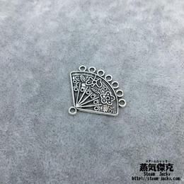【10点セット】扇子風素材 28.16mm x 24.6mm 金属製ハンドメイド素材 商品番号A2-0006-2