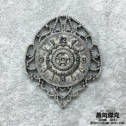 【4点セット】時計風ペンダント素材 43mm x 36mm 金属製パーツ ダメージ風シルバー 商品番号T-0010