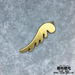 【5点セット】翼風素材 49.7mm x 14.3mm ブラスカラ― 金属製ハンドメイド素材 商品番号W-0065