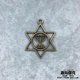【10点セット】ユダヤ教燭台柄付き六芒星風ペンダント素材 37.8mm x 29.3mm 金属製ハンドメイド素材 商品番号S-0001