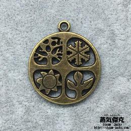 【2点セット】春夏秋冬テーマペンダント素材 金属製パーツ 商品番号T-0049