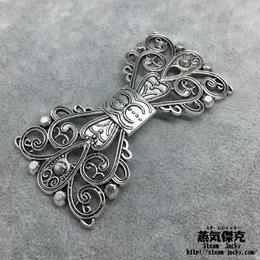【2点セット】透かし彫りリボン素材 65.76mm X 35.7mm 金属製ハンドメイド素材 商品番号A2-0016