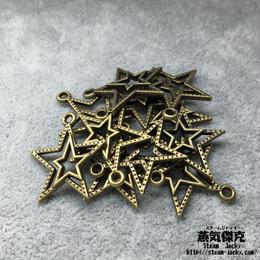 【10点セット】二重五芒星ペンダント素材 22.7mm x 20.7mm 金属製ハンドメイド素材 商品番号S-0029