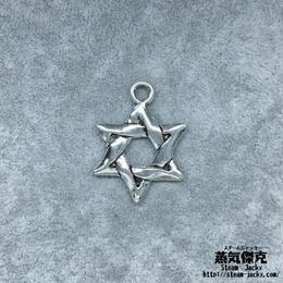 【4点セット】六芒星ペンダント素材 33.9mm x 25.4mm 金属製ハンドメイド素材 商品番号S-0033