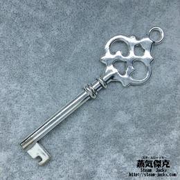 【5点セット】鍵風ペンダント素材 78.6mm x 24.8mm 金属製パーツ シルバーカラー 商品番号K-0054