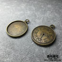 【5点セット】時計風ペンダント素材 金属製ハンドメイドパーツ 商品番号P-0034