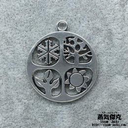 【2点セット】春夏秋冬テーマペンダント素材 金属製パーツ 商品番号T-0050