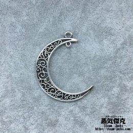 【4点セット】透かし彫り月型ペンダント素材 41.7mm x 30.4mm 金属製ハンドメイド素材 商品番号S-0007