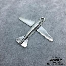 【3点セット】飛行機風素材 52.2mm x 16.2mm 金属製ハンドメイド素材 商品番号A2-0030