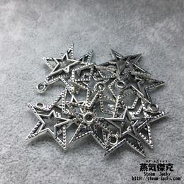 【10点セット】二重五芒星ペンダント素材 22.7mm x 20.7mm 金属製ハンドメイド素材 商品番号S-0030
