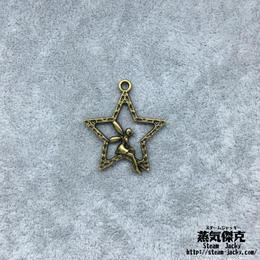 【6点セット】妖精柄五芒星ペンダント素材 28.5mm x 25.4mm 金属製ハンドメイド素材 商品番号S-0028