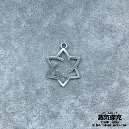 【10点セット】六芒星ペンダント素材 27.8mm x 21.1mm 金属製ハンドメイド素材 商品番号S-0032