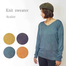 Vネック 草木染めニットセーター