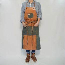 【production on order】Uzu apron / one-off  (indigo × persimmon patchwork )