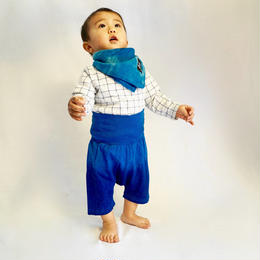 The natural indigo bib and kid's pants【Baby set gifts ¥600 off】