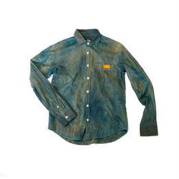 Broadcloth shirt  (size M)   indigo ×  persimmon