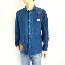 oxford  shirt  (size L)   indigo × patch-art