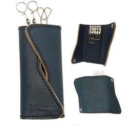 Indigo leather cross keycase