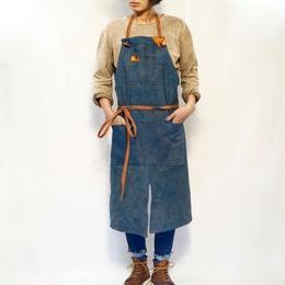 【production on order 】Uzu apron / one-off  (indigo × persimmon hand dye )
